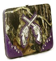 Western Pistol Gun Purple Camouflage Clutch Opera Wallet
