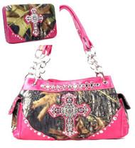 Western Pink Camouflage Cross Rhinestone Handbag W Matching Wallet