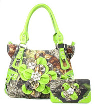 Western Green Camouflage Flower Rhinestone Purse W Matching Wallet