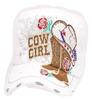 White Rhinestone Accented Cowgirl Cadet Hat