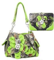 Western Green Camouflage Flower Rhinestone Handbag W Matching Wallet