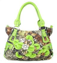 Western Green Camouflage Flower Rhinestone Fashion Purse