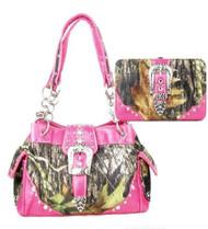 Western Pink Camouflage Buckle Rhinestone Handbag W Matching Wallet