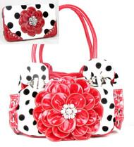 Polka Dot Red Flower Rhinestone Purse W Matching Wallet