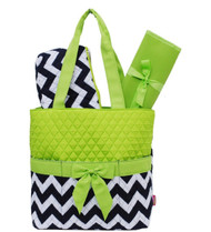 Navy Lime Chevron Print Quilted 3pc set Diaper Bag