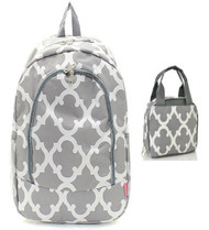 Grey & White Geometric Backpack W Matching Lunch Bag