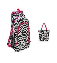 Pink Trim Zebra Print Backpack W Matching Lunch Bag