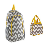 Grey and Yellow Chevron Backpack W Matching Lunch Bag