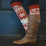Knit Winter Leg Warmer Boot Accessorie-Red