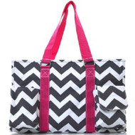 Chevron Stripe Canvas Multipurpose Utility Tote Bag Shopping Travel-Pink