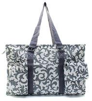 Damask Canvas Multipurpose Utility Tote Bag Shopping Travel Grey