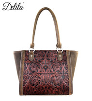 LEA-6017 Delila 100% Genuine Leather Tooled Collection-Coffee