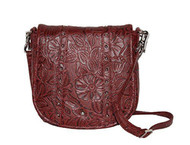 GTM-16 Simple Bling in Tooled Leather Black Cherry Concealment Purse
