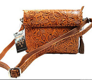 GTM-22 Tooled American Cowhide Tan Concealment Purse
