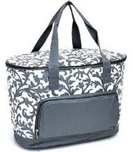 Grey Damask Print Insulated Cooler Bag