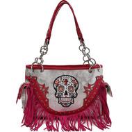 Fuchsia Sugar Skull With Fringe Concealed Gun Carrier Western Handbag