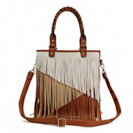 Multi Tones Two Layer Fringe Women's Tote Handbag with Crossbody Strap (Brown)