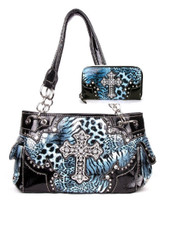 Western Cross Leopard Handbag Rhinestone Pocket Purse With Matching Wallet (Blue)