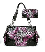 Western Cross Leopard Handbag Rhinestone Pocket Purse With Matching Wallet (Purple)