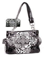 Western Cross Leopard Handbag Rhinestone Pocket Purse With Matching Wallet (Black)
