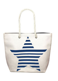Blue Striped Star Tote Bag