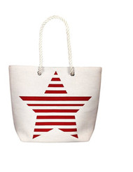 Red Striped Star Tote Bag