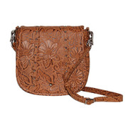 GTM-16 Simple Bling in Tooled Leather Tan Concealment Purse