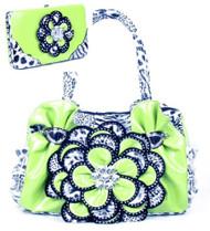Lime Green Leopard Crystal Leaf Rhinestone Flower Fashion Handbag W Matching Wallet