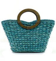 Wooden Straw Handbag (Blue)