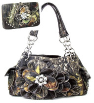 Western Brown Camouflage Flower Rhinestone Handbag W Matching Wallet