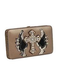 Pewter Rhinestone Cross & Wing Wallet
