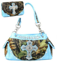 Western Blue Camouflage Cross Rhinestone Handbag W Matching Wallet
