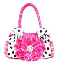 Pink Polka Dot Flower Rhinestone Fashion Purse