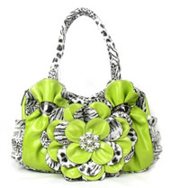 Lime Green Leopard Flower Rhinestone Fashion Handbag