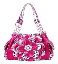 Leopard Pink Flower Rhinestone Handbag