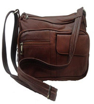 Concealed Carry Leather Gun Purse w/ Organizer & Shoulder Strap (Brown)