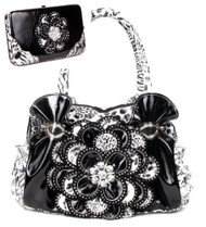 Black Leopard Crystal Leaf Rhinestone Flower Fashion Handbag W Matching Wallet