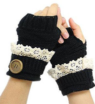 Black Button Knit Fingerless Gloves