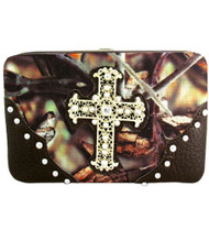 Brown Camouflage Fashion Cross Wallet With Rhinestones and Stud