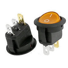 ROUND ROCKER SPST TOGGLE SWITCH DC 12V 20A ON/OFF YELLOW LED