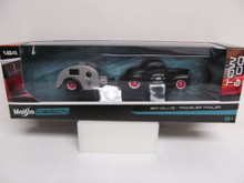 Maisto Design Tow & Go 1:64 Scale ~ 1941 Willys / Travel Trailer (Matte Black/Silver)