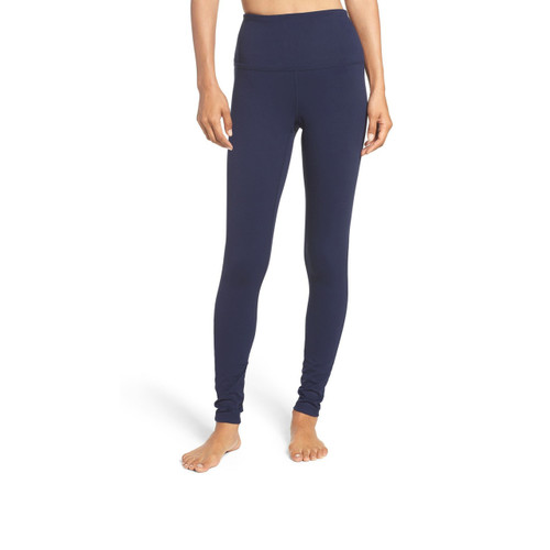 Women's Navy Blue Solid Plain COTTON Leggings Below Knee