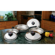 Wholesale lot of (2) Precise Heat 6pc 12-Element T304 Stainless Steel Skillet Set