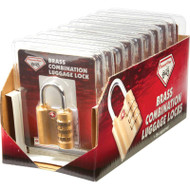 Wholesale lot of (12) Diamond Plate 10pc Brass Combination Luggage Locks in Countertop Display