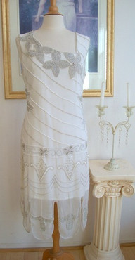 1920s GREAT GATSBY Ivory/Silver BEADED Dress-S,M,L,XL or Plus Sizes