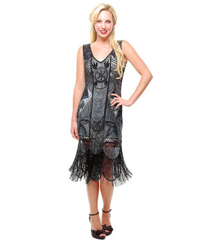 1920s Style Black/Irridescent BEADED Fringe FLAPPER Dress- XS, S, M, L, XL or 2X