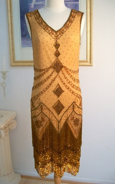 1920's Style GREAT GATSBY Copper Beaded FLAPPER Dress- S, M, L, XL or Plus Sizes