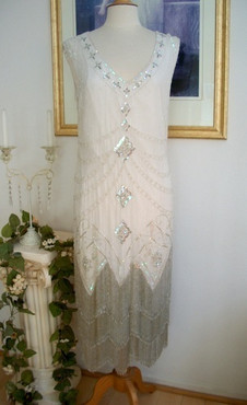 1920's Style Ivory Silver Iridescent Beaded Fringe FLAPPER Dress-S,M,L,XL PLus