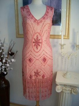 1920's GREAT GATSBY Dusty Pink BEADED Flapper Dress-S,M,L,XL or Plus Size