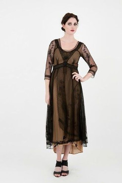 DOWNTON ABBEY Nataya Black Cocoa Embroidered VICTORIAN Dress-S